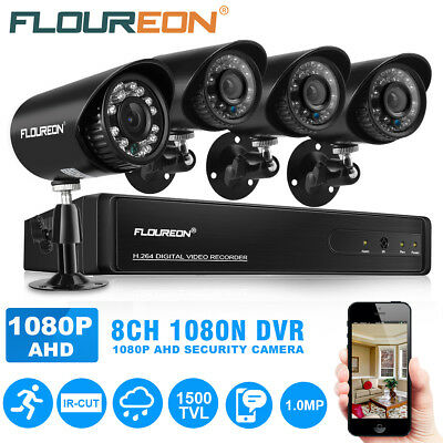 4pc 1500TVL 720P 1MP AHD Kit de cámara de seguridad con 8CH 1080n y DVR-Negro