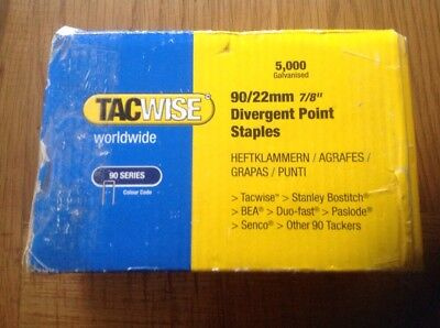 Tacwise 90/22mm Divergent Point Narrow Crown Staples Box of 5000