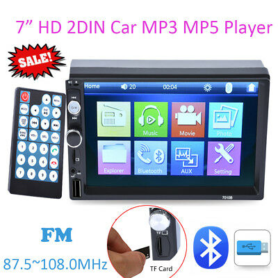 """7"""" 2 DIN Car MP3 MP5 Player Bluetooth FM Stereo Audio Radio AUX Touch Screen TF"""