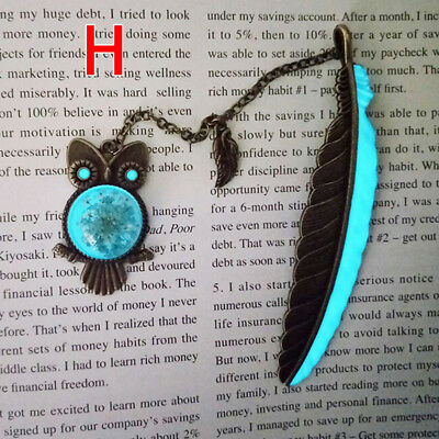 1X Luminous Night Owl Bookmark Label Read Maker Feather Book Mark Stationery H~