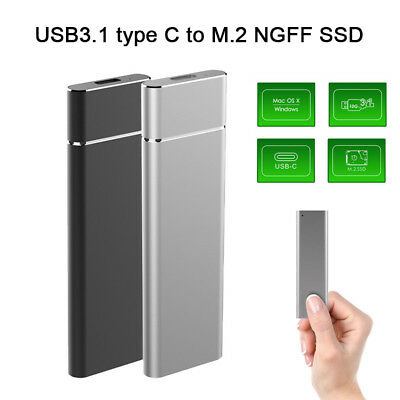 USB 3.1 Type C M.2 NGFF SSD Enclosure Solid State Drive Compatible Windows VISTA
