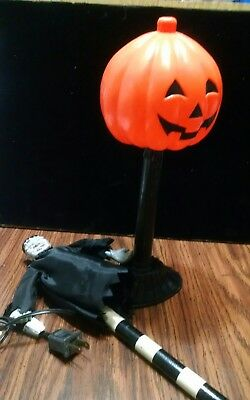 Lot of 2 PUMPKIN Light and Frankenstein yard stix HALLOWEEN COLLECTION Preowned