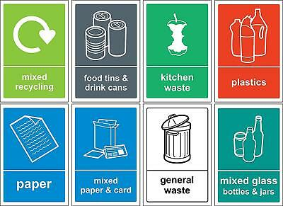 Recycling bin Sign/Sticker pack - Self adhesive vinyl Pack of 8  150x100mm
