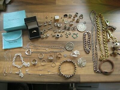 Large Job Lot Of Antique Vintage Solid Silver & Jewellery Collectables