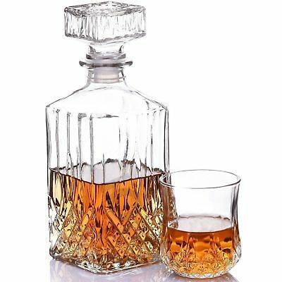 New Cut Crystal Glass Whisky Decanter And 6 Glasses Christmas Present Gift Set