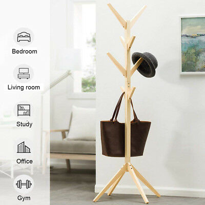 KCASA Wooden Coat Stand Rack Tree 8 Hooks Clothes Hanger Rail Jacket Bag Hanging