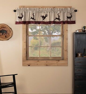 "Wyatt Deer Valance Lined 16X90"" Rustic Lodge/cabin Window Decor Discounts Vhc"
