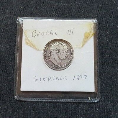 1817 King George Iii Sixpence Silver Coin