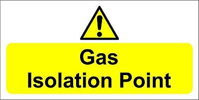 Gas isolation point sign - Self adhesive sticker 200mm x 100mm
