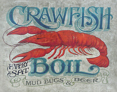 Crawfish  Boil  Print art decor print vintage  style sign  shrimp oyster cajun