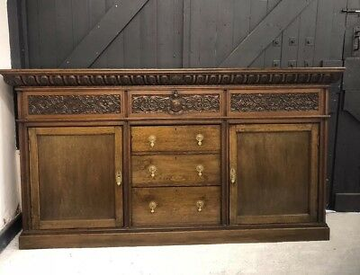 antique oak carved sideboard Buffett Sutcliffe Family Crest Retail Shop Prop