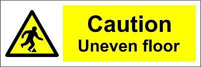 Caution Uneven Floor/Warning Exclamation In Yellow Triangle Sign Rigid 300x100mm