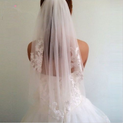 Applique Bridal Veil 1T Wedding Length With Comb Lace Edge Elbow White/Ivory New
