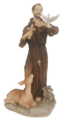 """St. Francis W/Animals, Hand Painted Statue 8.5"""""""