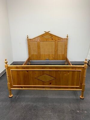 Baker Inlaid Pine & Birdseye Maple Faux Bamboo Queen Size Bed