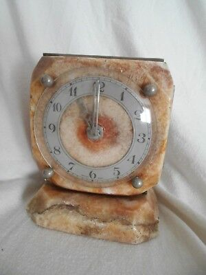 True ART DECO Mable Onyx MANTEL CLOCK Electric Granite needs rewire 1930s 18cms