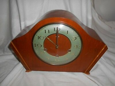 MAHOGANY Working SMITHS Mantel Clock 8 Day with KEY Westminster Chime Sandilan