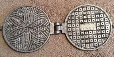 T Calabrese Cast Iron Waffle Iron On Tongs~1928~Pittsburgh Pa~Camp Fire