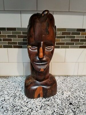 "Solid Wood Carved African Art Head Statue Sculpture Figure Bust 12"" tall"