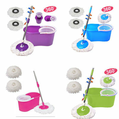 360° Rotating Mop Microfiber Spinning Easy Magic Spin Floor Mop +Bucket 2 Head
