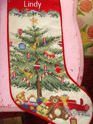 """18"""" needlepoint Christmas stocking decorated Christmas tree with toys charming"""