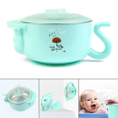 1pcs Stay Put Feeding Bowl Suction Bowl Stainless Steel Kid with Heat Retaining