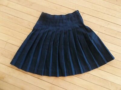 Lands' End Girls school uniform Pleated Skirt Below the Knee Size 12 Navy Blue