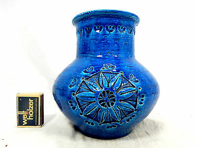 Beautiful Aldo Londi design Bitossi Rimimi blue  pottery  vase Italy 151 16 cm