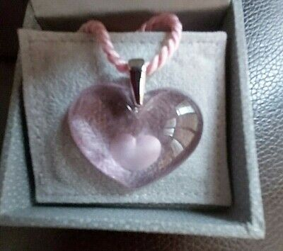 Lalique Pink 'Heart-within-a-Heart' Pendant with Box
