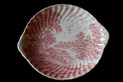 Plat plateau Staffordshire Ridgway rouge Meadowsweet Vintage Round Dish Tray