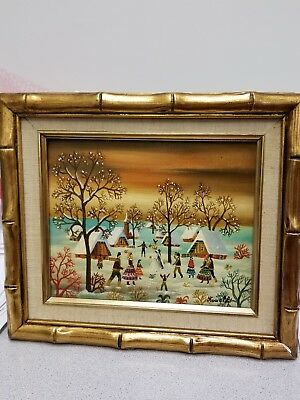 "KOWALSKI Folk Art Oil on Canvas Painting WINTER VILLAGE Wedding 131/2""X11""Framed"