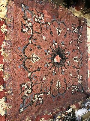 Beautiful Antique Kashmir Paisley Shawl Hand Embroidered - 19th Century