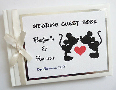 PERSONALISED DISNEY MICKEY & MINNIE WEDDING GUEST BOOK (ivory) - ANY COLOUR