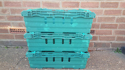 3 x Bail Arm Crates Storage Plastic Boxes Stacking Tray 60-40-16cm