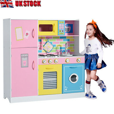 Large Girls Kids Wooden Toy Kitchen Children's Role Cooking Play Pretend Set Toy