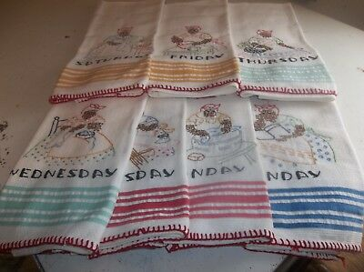 vintage days of the week hand-embroidered dishtowels brand new never used very n