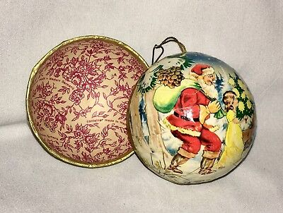 Vintage Germany Christmas Paper Mache Trinket Ball Candy Ornament