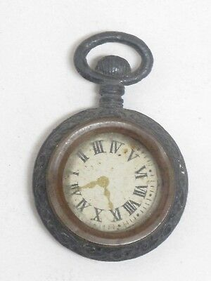 Antique Miniature Victorian Pocket Watch Charm Fob Glass Ornate Pot Metal Brass