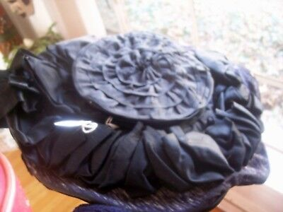 antique victorian french wide brimmed satinyribbon and bow 2 tone black  hat