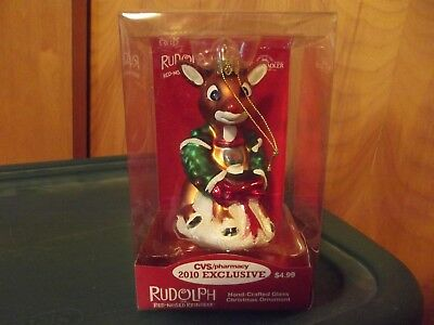 Cvs Exclusive 2010  Rudolph The Red Nosed Reindeer Glass Ornament New Mib