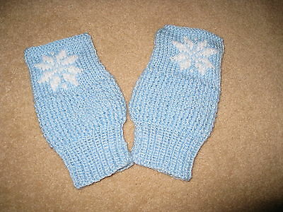 Hand Knitted Finger-less Mittens in Baby Blue with snowflake pattern