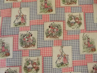 Vintage Holly Hobbie Fabric Panels on Blue Pink Gingham Check 3 Yards