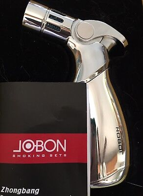 Jobon Windproof 4 Jet Torch Cigar Baking BBQ Welding Refillable Lighter Silver