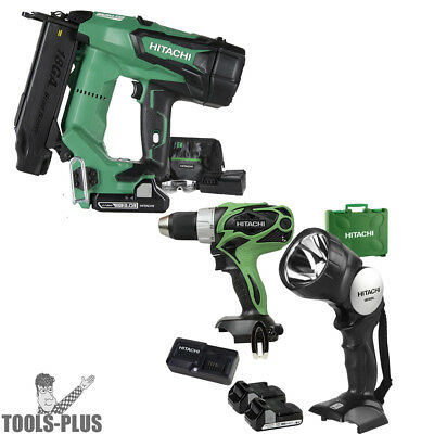 "Hitachi NT1850DE 2"" 18V Brushless Li-Ion 18Ga Brad Nailer w/Drill+Flashlight New"