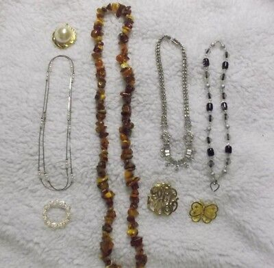 Lot Of 8 Pcs Vintage Costume Jewelry 4 Brooches, 4 Necklaces