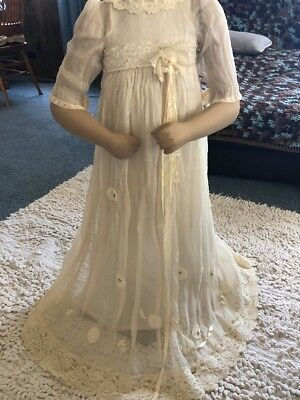 VINTAGE Victorian Infants Laced Baptism Long Dress Italy Baby Doll Cloths