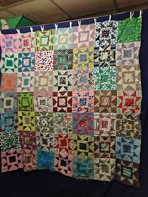 """Beautiful Vintage Hand Sewn Star Quilt Top 67"""" by 68"""" Blocks Colors Patchwork"""