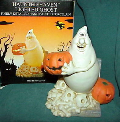 rare OOP vintage 1990's HAUNTED HAVEN Lighted Friendly Ghost figurine OB