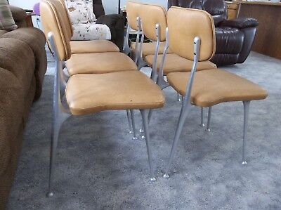 VTG 1950s ALUMINUM SET 6 MID-CENTURY SPACE AGE FUTURISTIC BIG BOYS DINING CHAIRS