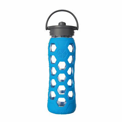 Lifefactory 22oz Glass Bottle with Straw Cap and Silicone Sleeve - Ocean